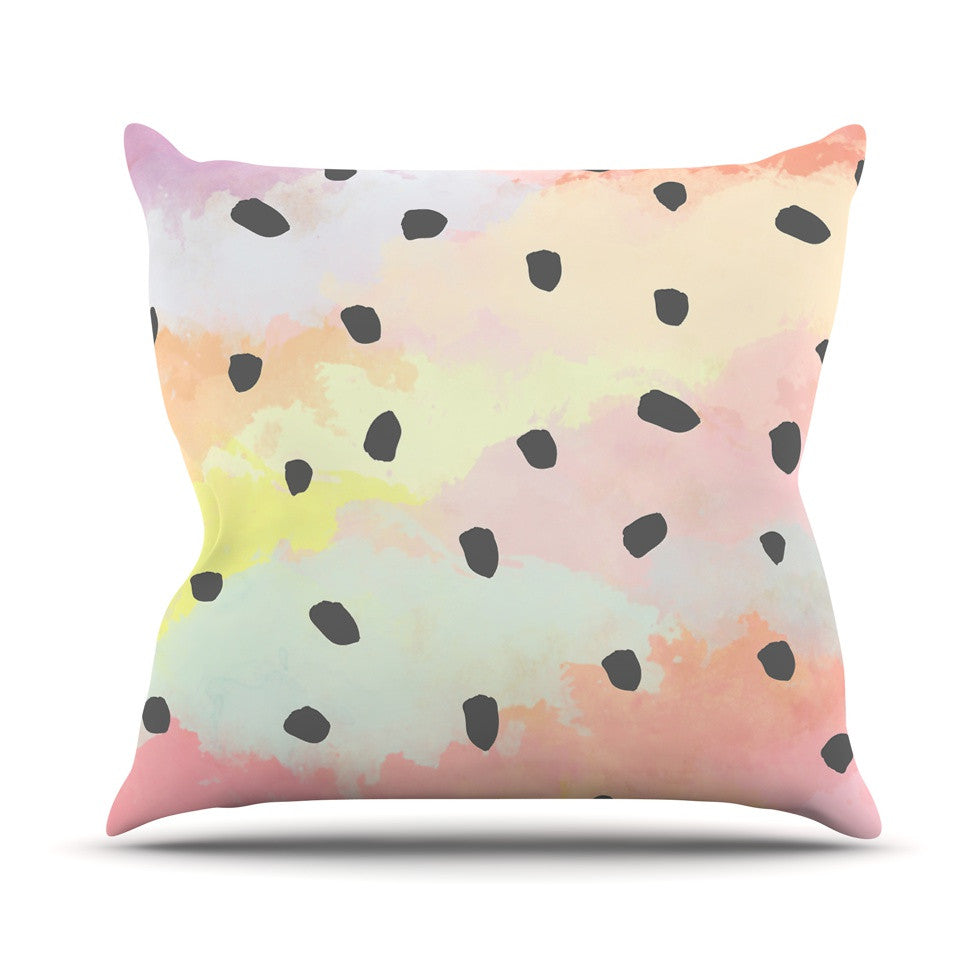 "Strawberringo ""With Dots"" Pastel Painting Outdoor Throw Pillow - KESS InHouse  - 1"