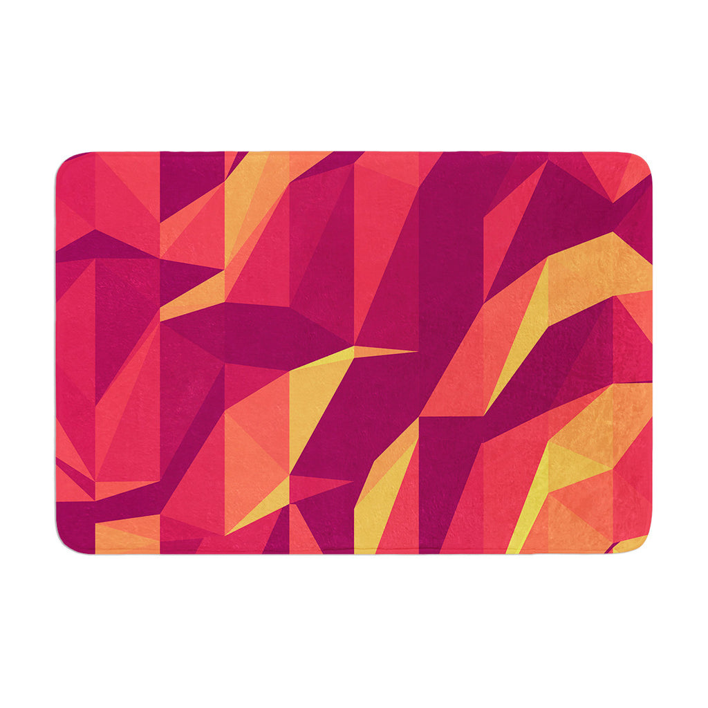 "Strawberringo ""Abstract Mountains"" Orange Abstract Memory Foam Bath Mat - KESS InHouse"