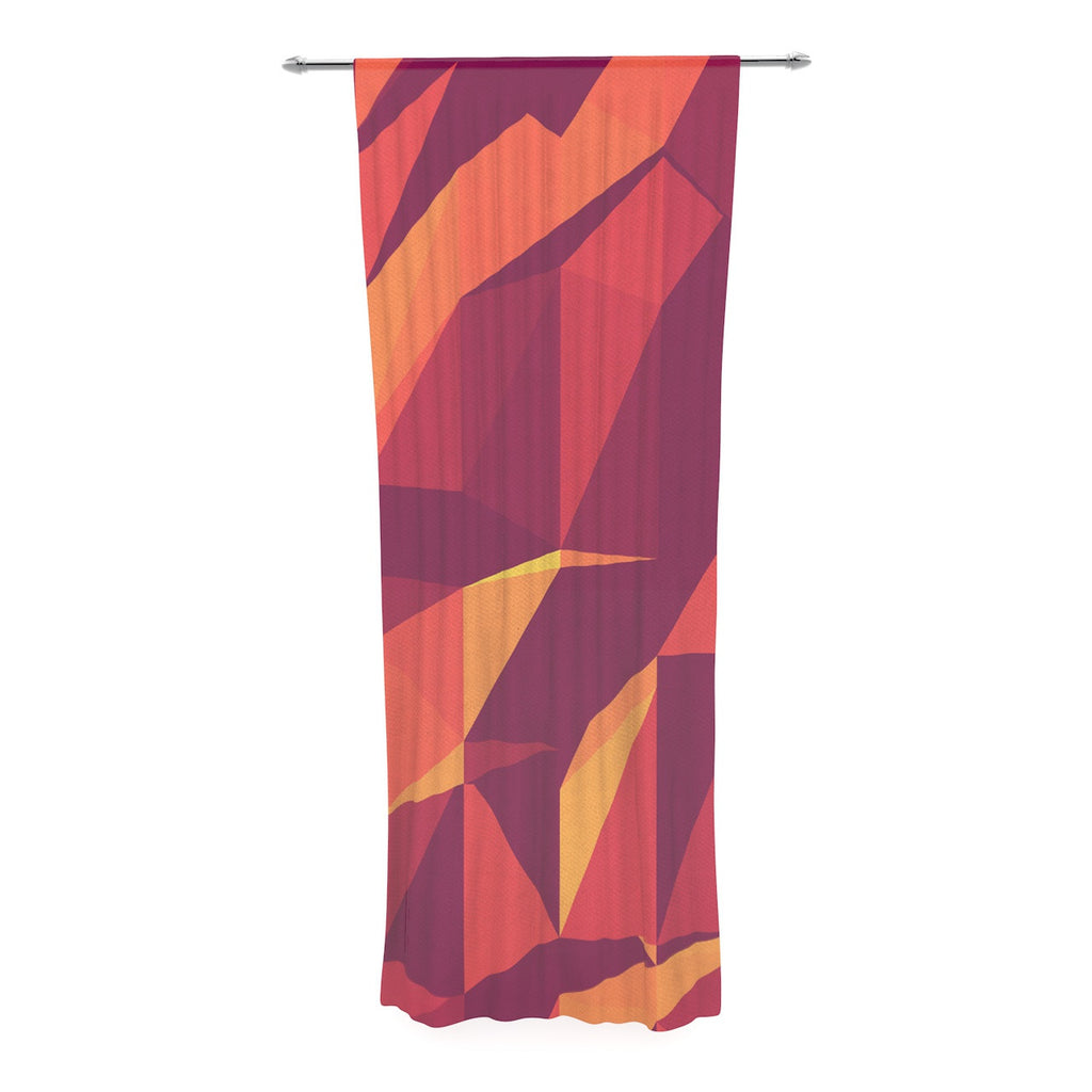 "Strawberringo ""Abstract Mountains"" Orange Abstract Decorative Sheer Curtain - KESS InHouse  - 1"