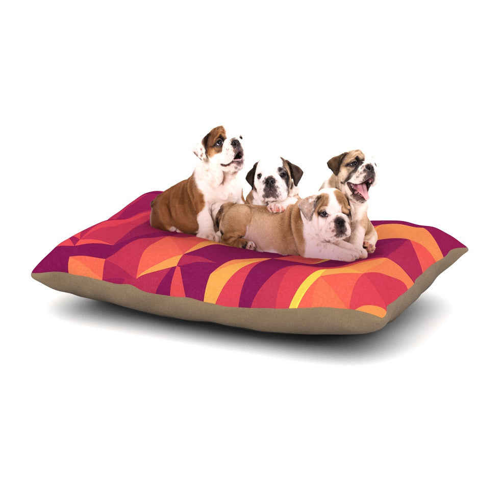 "Strawberringo ""Abstract Mountains"" Orange Abstract Dog Bed - KESS InHouse  - 1"