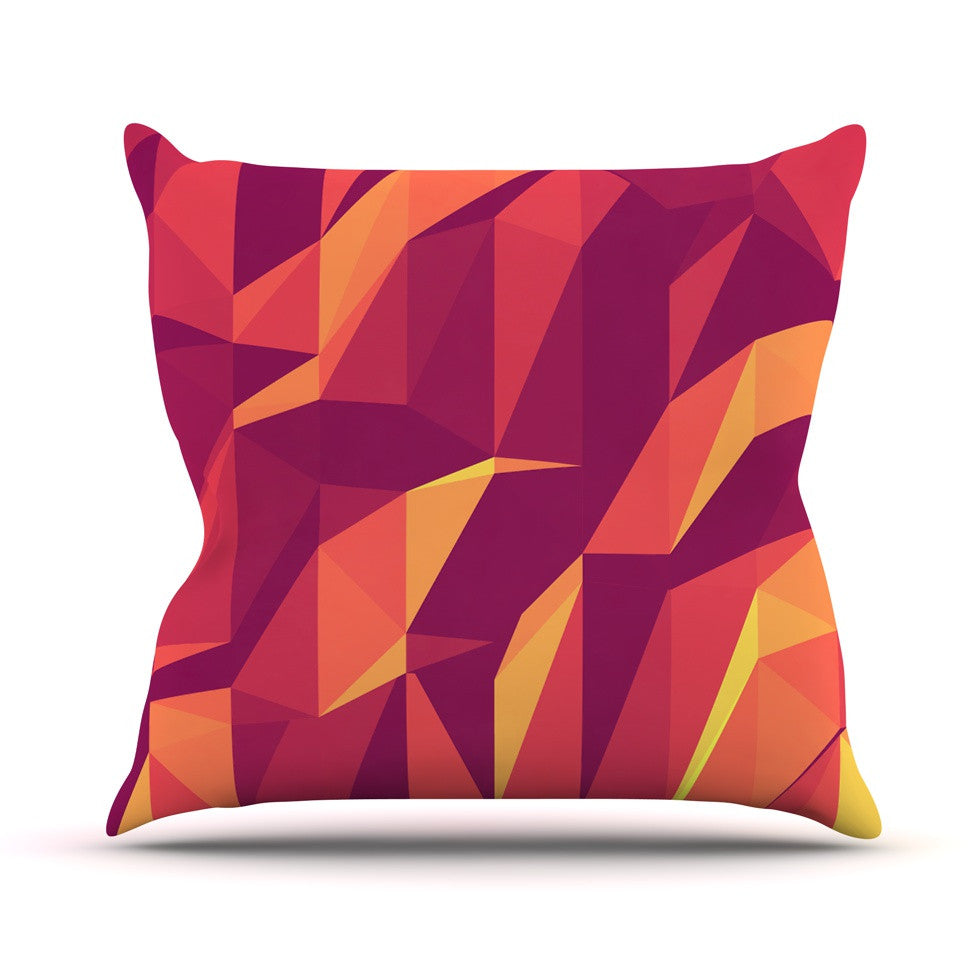 "Strawberringo ""Abstract Mountains"" Orange Abstract Outdoor Throw Pillow - KESS InHouse  - 1"