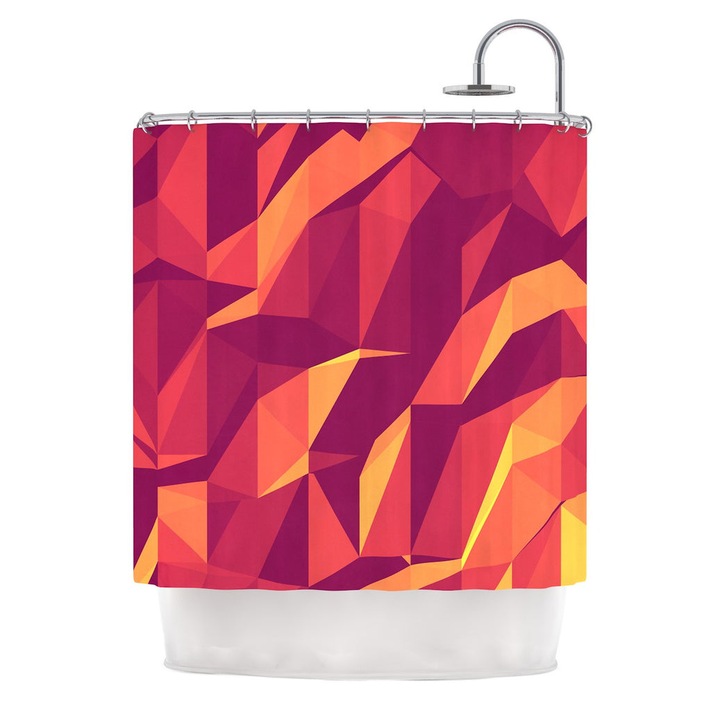 "Strawberringo ""Abstract Mountains"" Orange Abstract Shower Curtain - KESS InHouse"