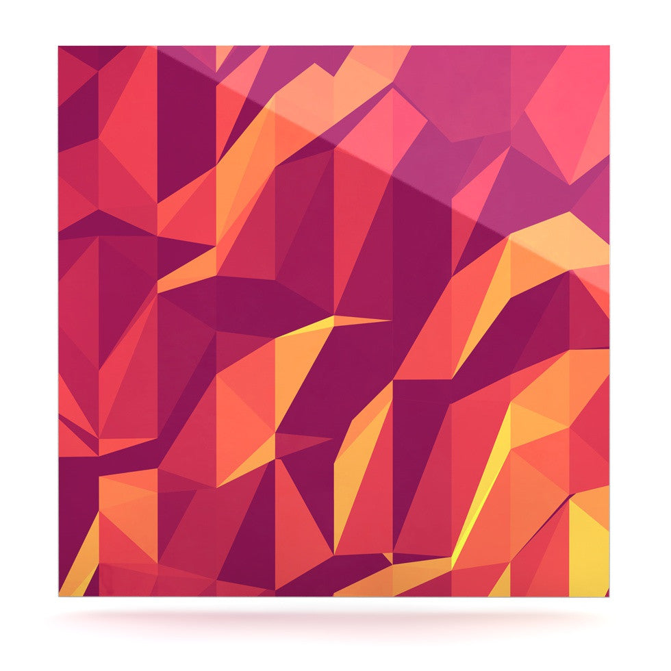 "Strawberringo ""Abstract Mountains"" Orange Abstract Luxe Square Panel - KESS InHouse  - 1"