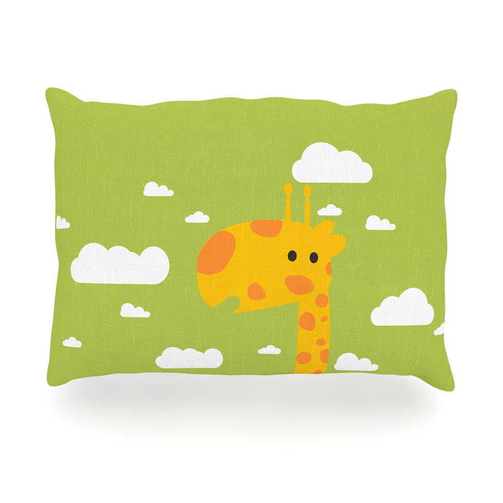 "Strawberringo ""Baby Giraffe"" Green Yellow Oblong Pillow - KESS InHouse"