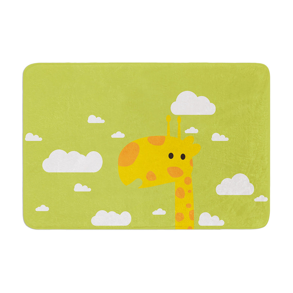 "Strawberringo ""Baby Giraffe"" Green Yellow Memory Foam Bath Mat - KESS InHouse"