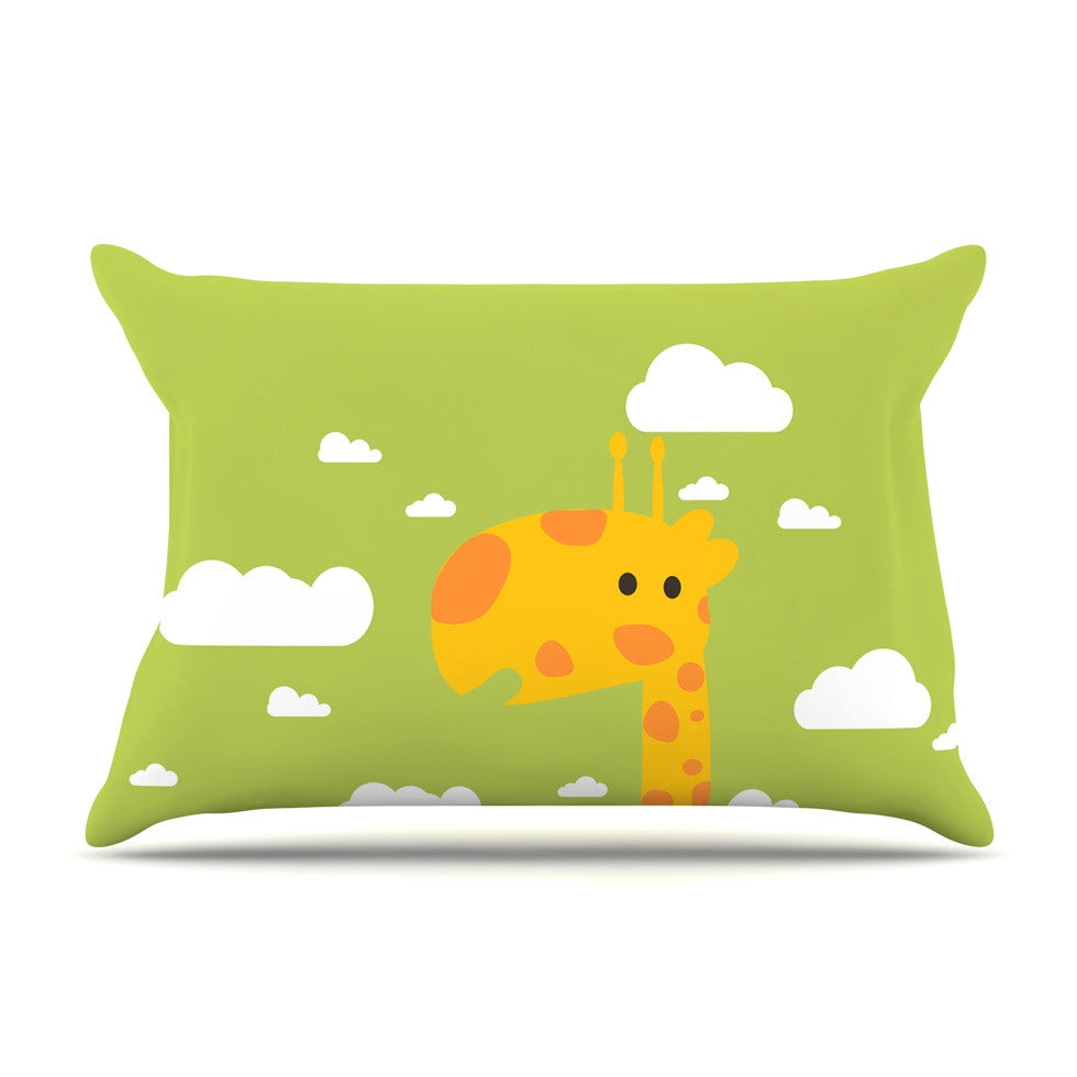 "Strawberringo ""Baby Giraffe"" Green Yellow Pillow Sham - KESS InHouse"
