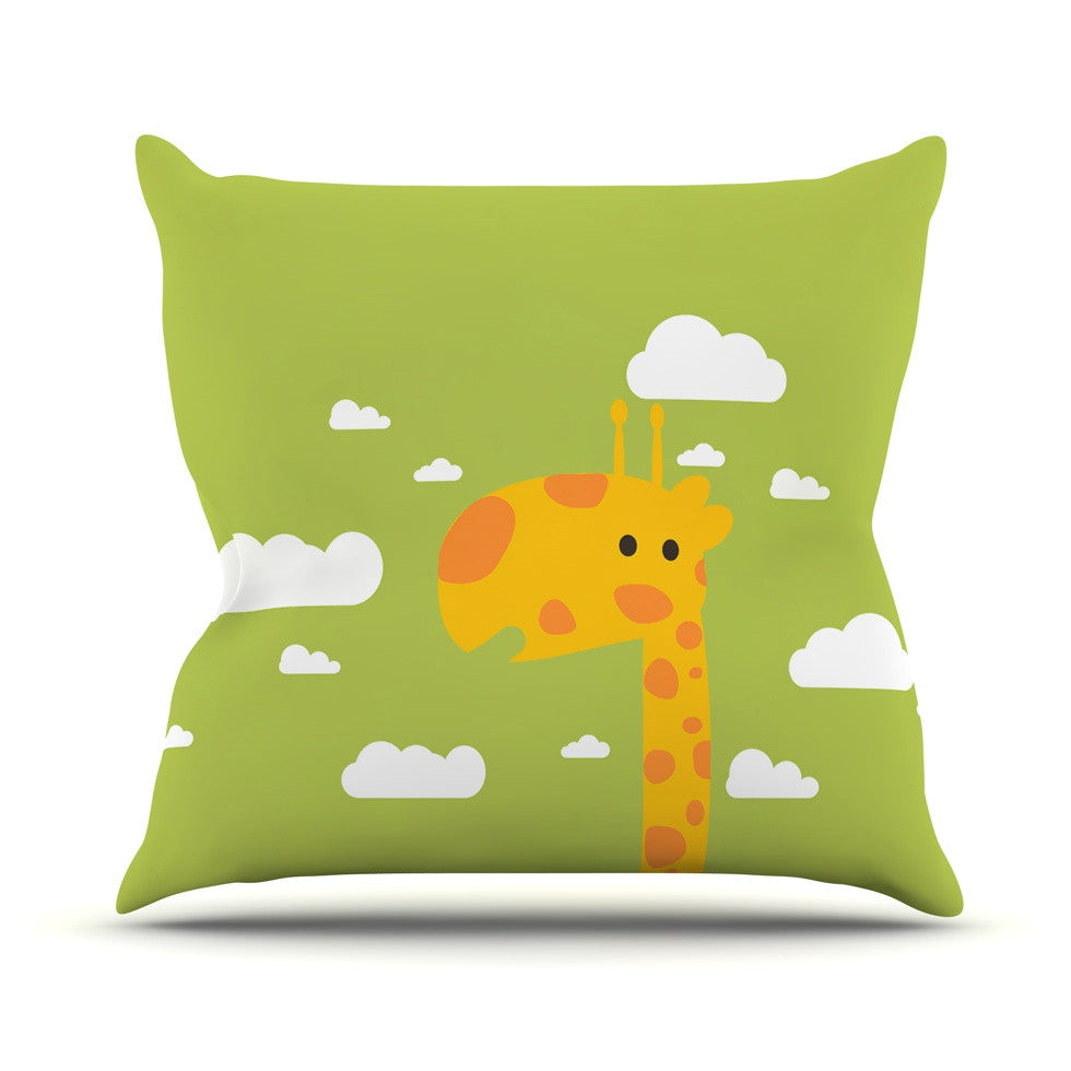 "Strawberringo ""Baby Giraffe"" Green Yellow Outdoor Throw Pillow - KESS InHouse  - 1"