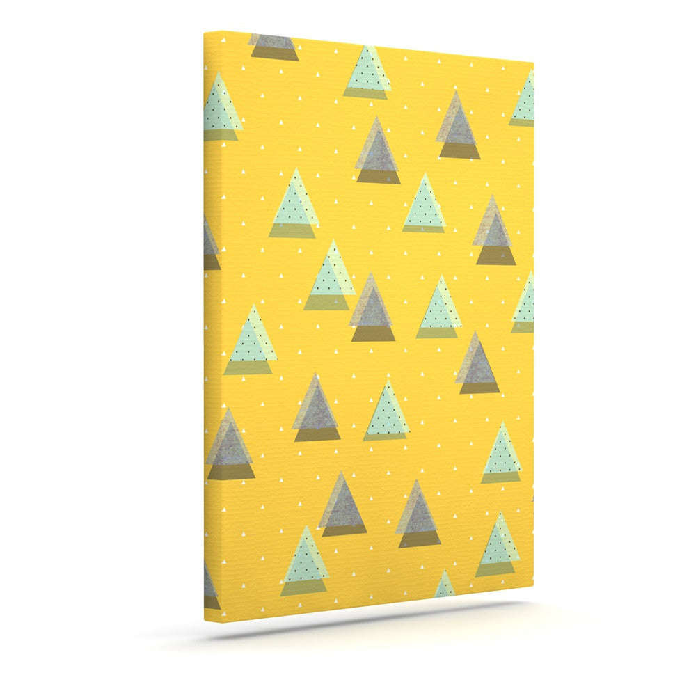 "Strawberringo ""Triangles"" Yellow Geometric Canvas Art - KESS InHouse  - 1"