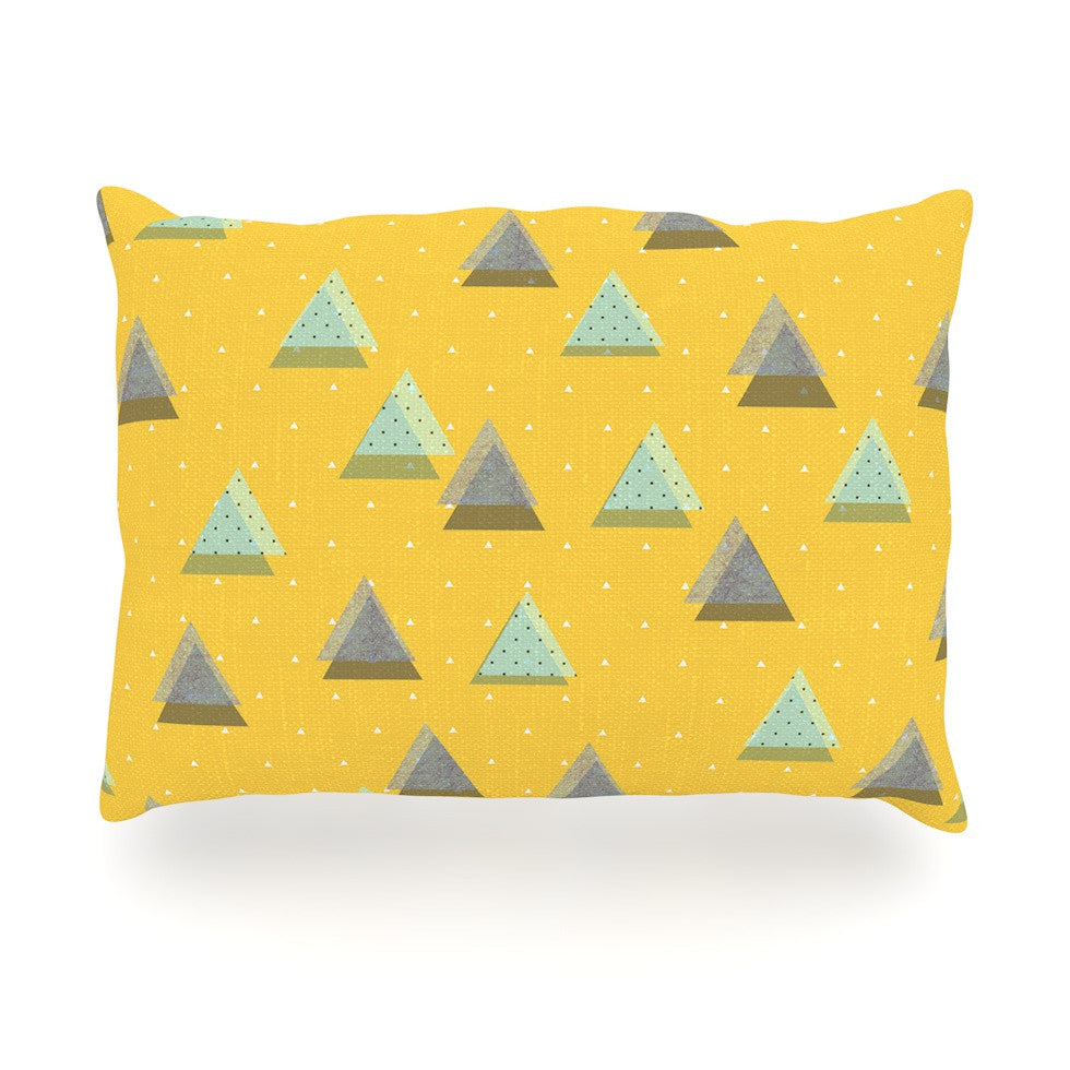 "Strawberringo ""Triangles"" Yellow Geometric Oblong Pillow - KESS InHouse"