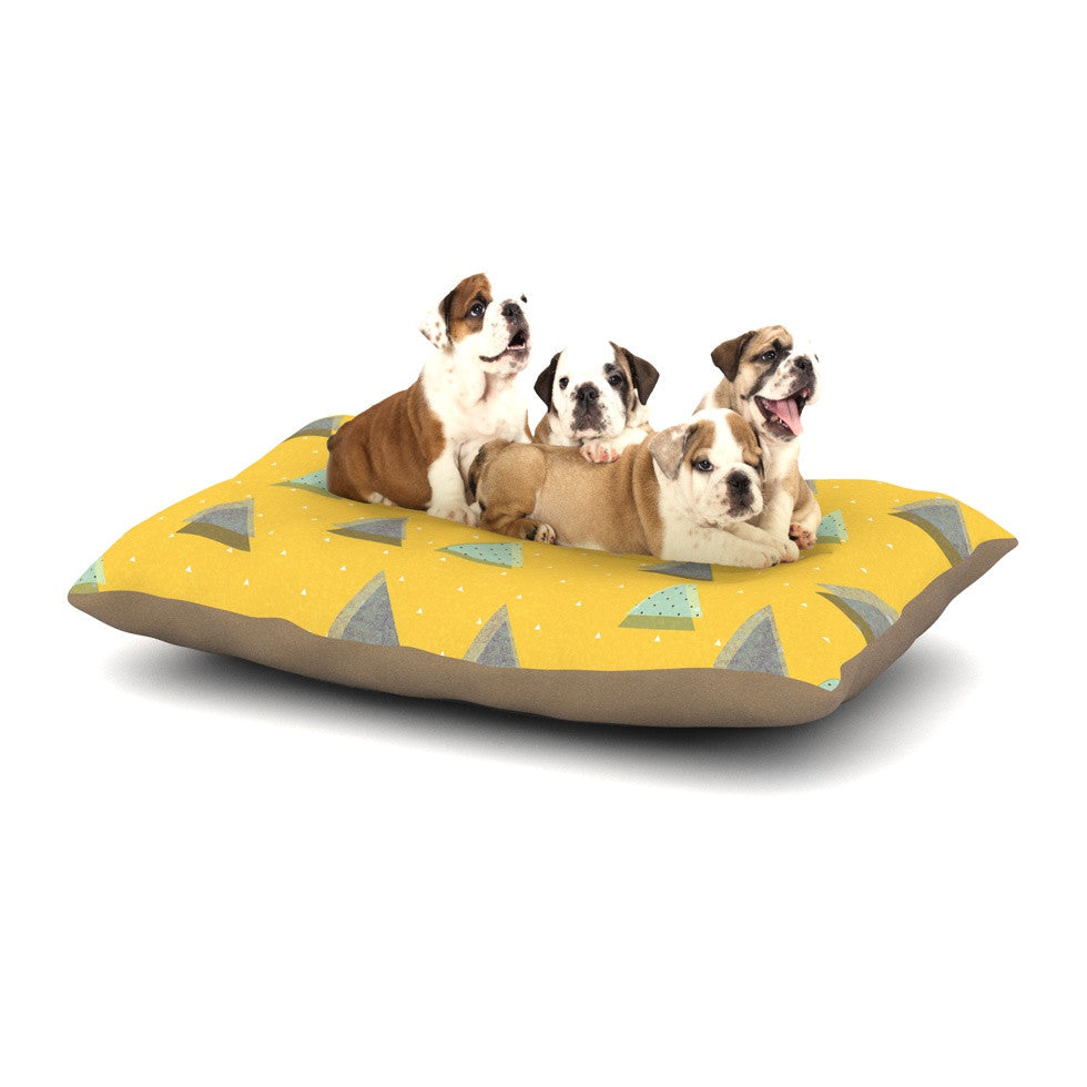 "Strawberringo ""Triangles"" Yellow Geometric Dog Bed - KESS InHouse  - 1"