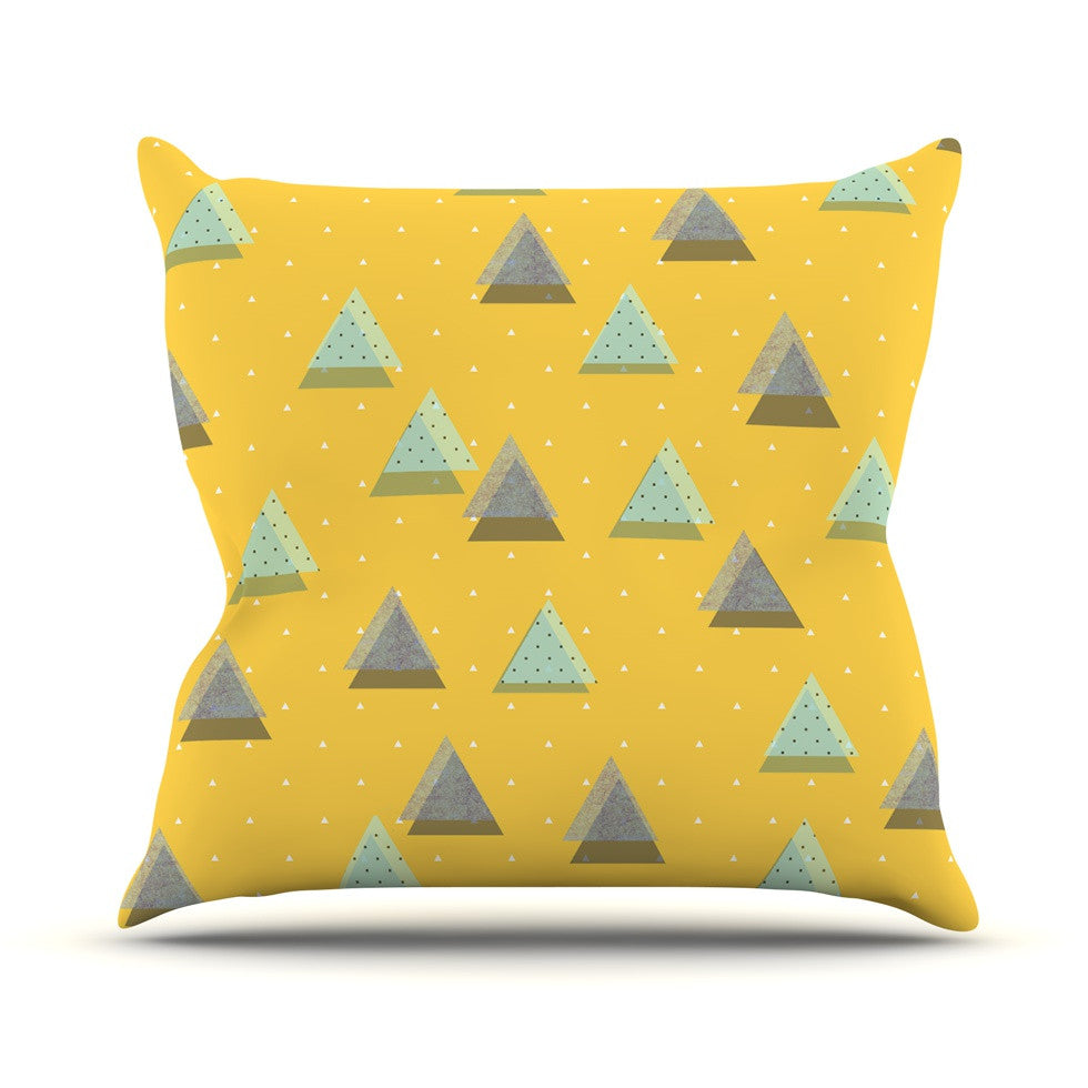 "Strawberringo ""Triangles"" Yellow Geometric Outdoor Throw Pillow - KESS InHouse  - 1"