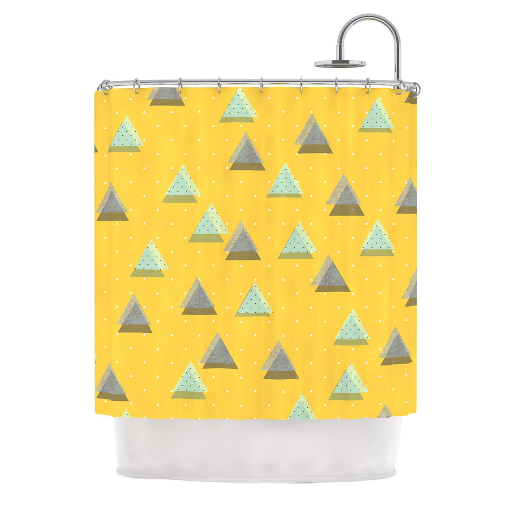 "Strawberringo ""Triangles"" Yellow Geometric Shower Curtain - KESS InHouse"