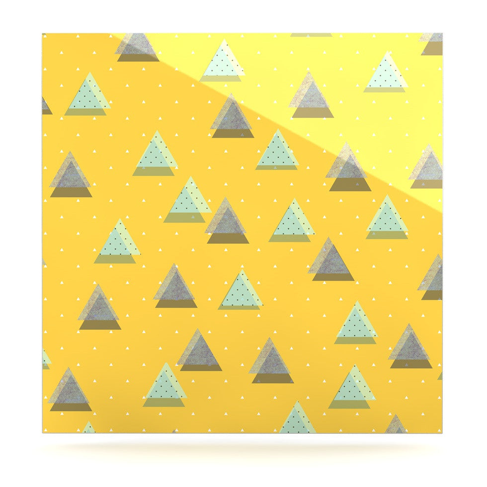 "Strawberringo ""Triangles"" Yellow Geometric Luxe Square Panel - KESS InHouse  - 1"