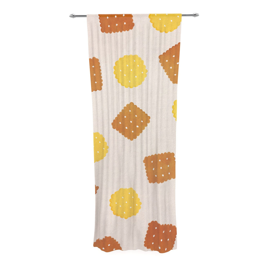 "Strawberringo ""Do You Love Biscuits?"" Brown Yellow Decorative Sheer Curtain - KESS InHouse  - 1"
