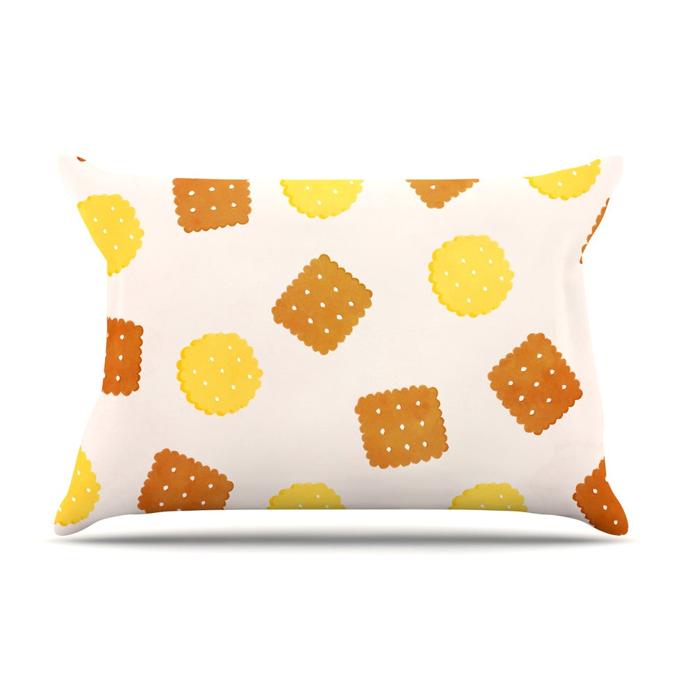 "Strawberringo ""Do You Love Biscuits?"" Brown Yellow Pillow Sham - KESS InHouse"