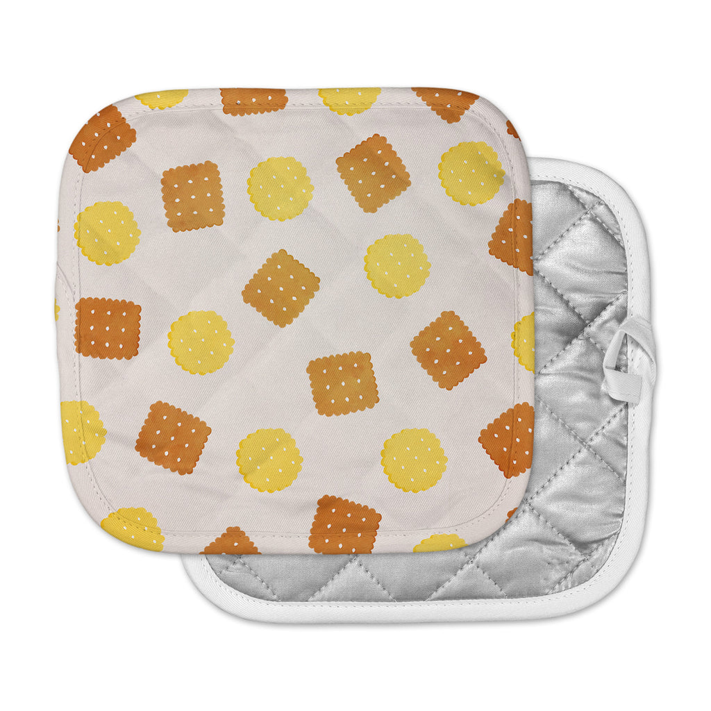 "Strawberringo ""Do You Love Biscuits?"" Brown Yellow Pot Holder"
