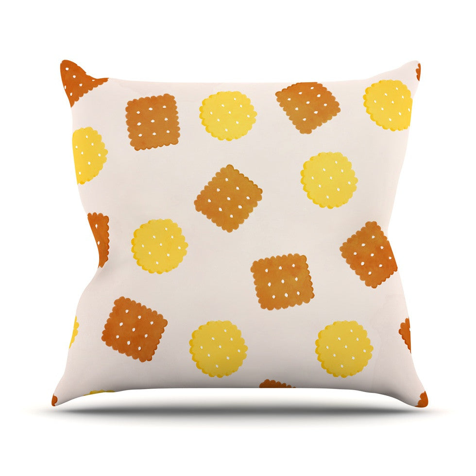 "Strawberringo ""Do You Love Biscuits?"" Brown Yellow Outdoor Throw Pillow - KESS InHouse  - 1"