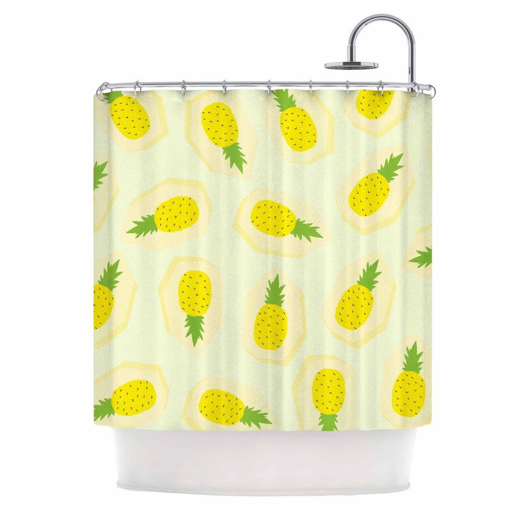 Pineapple Pattern Shower Curtain By Strawberringo