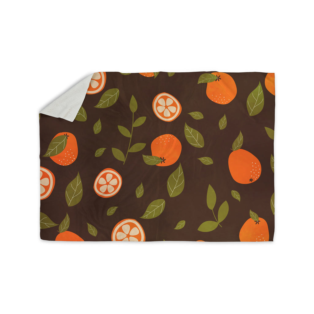 "Strawberringo ""Orange Pattern"" Abstract Food Sherpa Blanket - KESS InHouse  - 1"