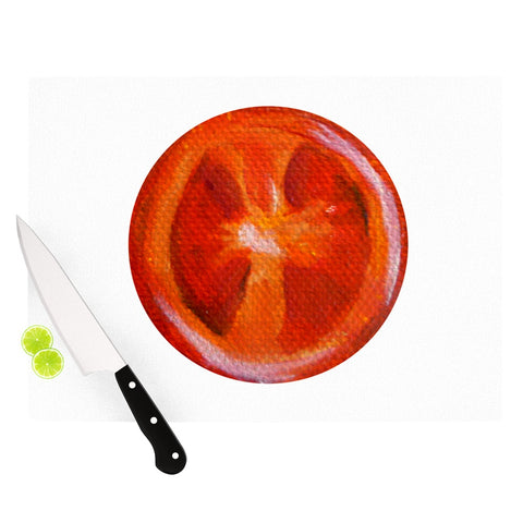"Theresa Giolzetti ""Tomatoes"" White Red Cutting Board - Outlet Item"