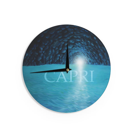 "Theresa Giolzetti ""The Blue Grotto Of Capri"" Black Blue Wall Clock - Outlet Item"