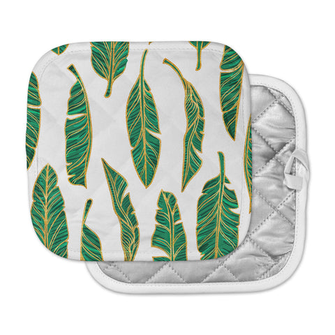 "83 Oranges ""Banana Leaf Gold"" Gold Green Digital Pot Holder"