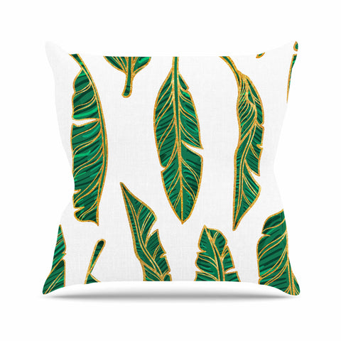 "83 Oranges ""Banana Leaf Gold"" Gold Green Digital Throw Pillow - KESS InHouse  - 1"