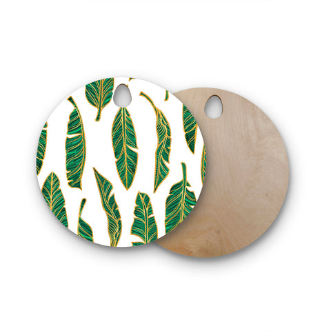 "83 Oranges ""Banana Leaf Gold"" Gold Green Digital Round Wooden Cutting Board"