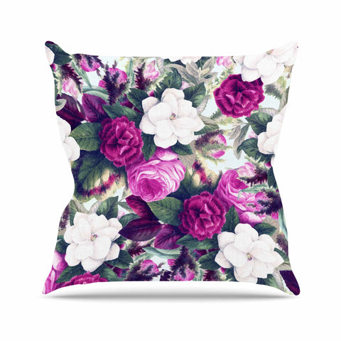 "83 Oranges ""Exotic Flora"" Lavender Purple Painting Throw Pillow - KESS InHouse  - 1"