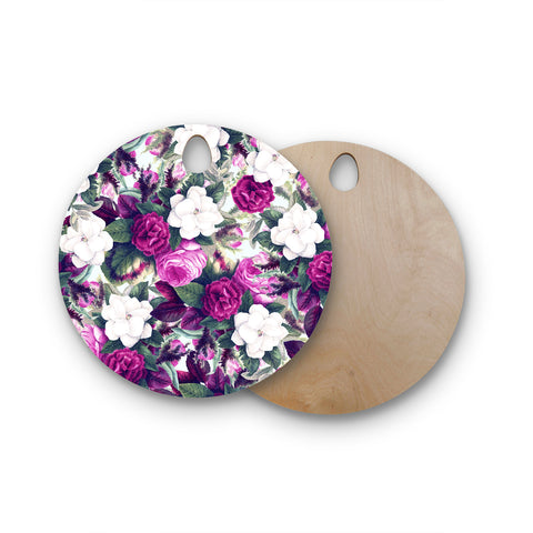 "83 Oranges ""Exotic Flora"" Floral Lavender Purple Painting Round Wooden Cutting Board"