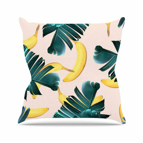 "83 Oranges ""Banana Leaves & Fruit"" Green Pastel Mixed Media Throw Pillow - KESS InHouse  - 1"