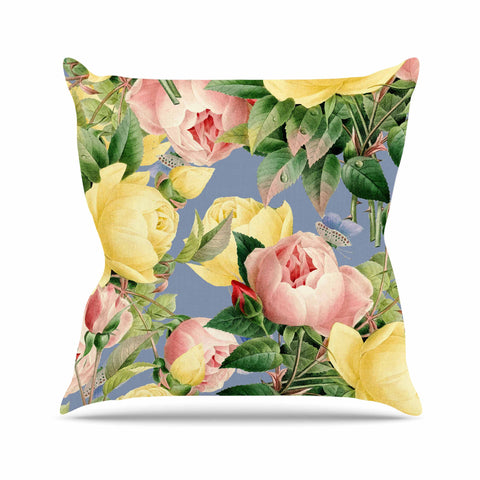 "83 Oranges ""Island Dreams"" Blue Pink Illustration Throw Pillow - KESS InHouse  - 1"