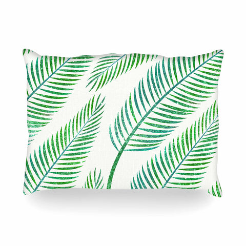 "83 Oranges ""Green Palm"" Teal Green Illustration Oblong Pillow"