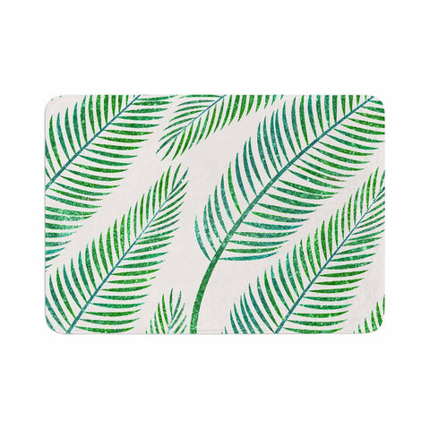 "83 Oranges ""Green Palm"" Teal Green Illustration Memory Foam Bath Mat"