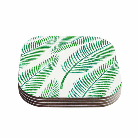 "83 Oranges ""Green Palm"" Teal Green Illustration Coasters (Set of 4)"