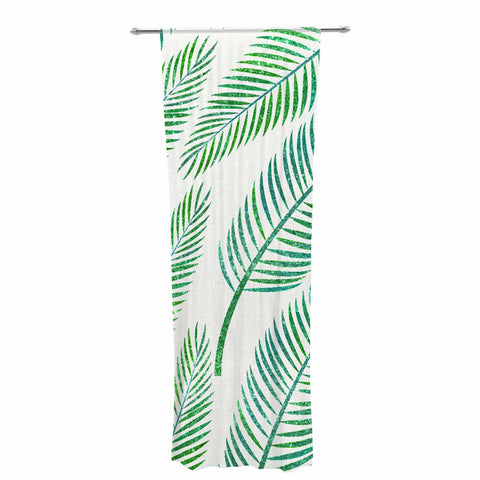 "83 Oranges ""Green Palm"" Teal Green Illustration Decorative Sheer Curtain"
