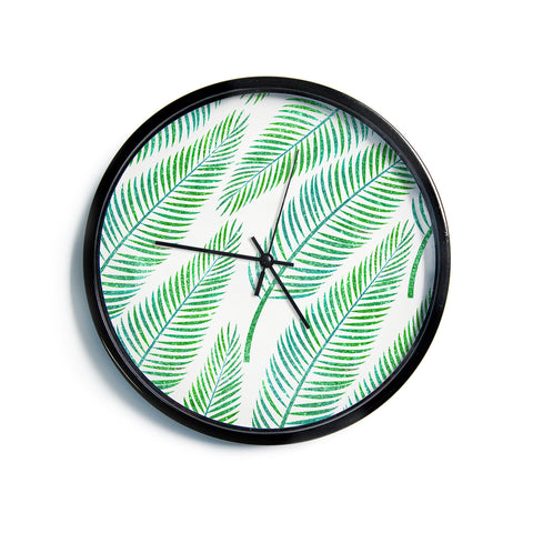 "83 Oranges ""Green Palm"" Teal Green Illustration Modern Wall Clock"