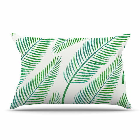 "83 Oranges ""Green Palm"" Teal Green Illustration Pillow Sham"