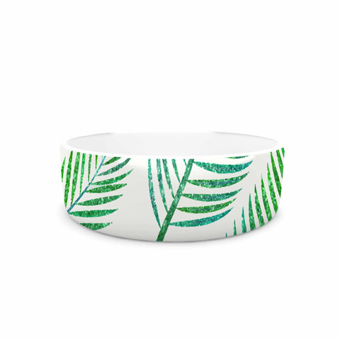 "83 Oranges ""Green Palm"" Teal Green Illustration Pet Bowl"