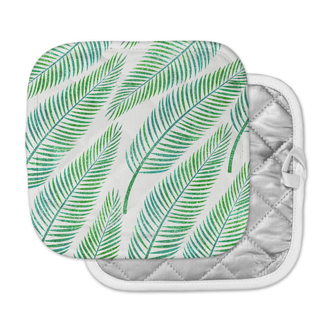 "83 Oranges ""Green Palm"" Teal Green Illustration Pot Holder"
