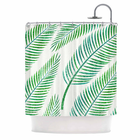 "83 Oranges ""Green Palm"" Teal Green Illustration Shower Curtain"