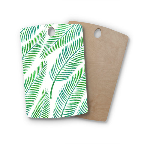 "83 Oranges ""Green Palm"" Teal Green Illustration Rectangle Wooden Cutting Board"