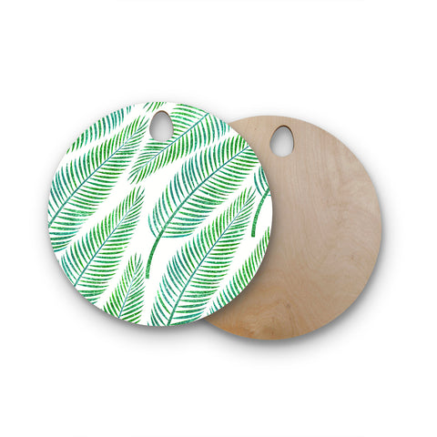 "83 Oranges ""Green Palm"" Teal Green Illustration Round Wooden Cutting Board"