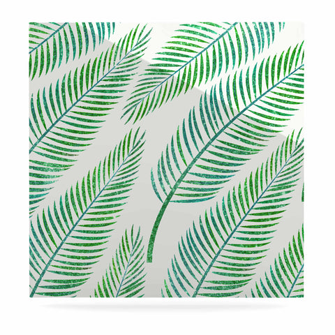 "83 Oranges ""Green Palm"" Teal Green Illustration Luxe Square Panel"
