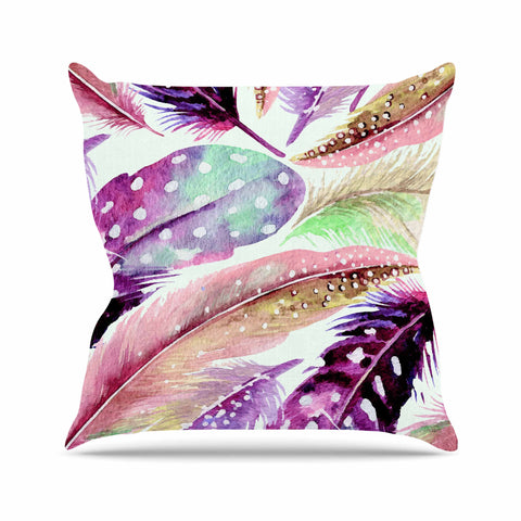 "83 Oranges ""Feathers"" Brown Purple Painting Throw Pillow"