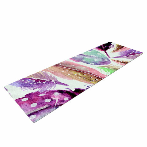 "83 Oranges ""Feathers"" Brown Purple Painting Yoga Mat"