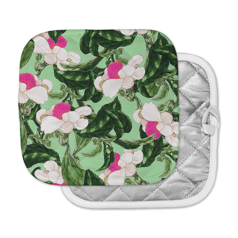 "83 Oranges ""Royal Florals"" Green Pink Illustration Pot Holder"