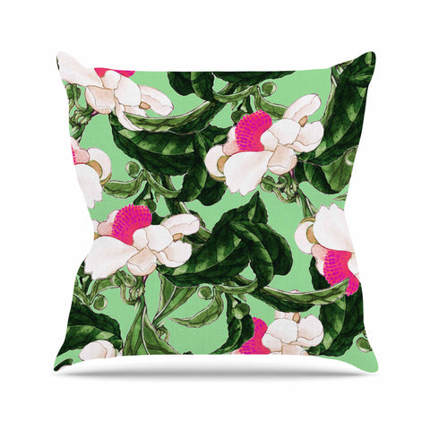 "83 Oranges ""Royal Florals"" Green Pink Illustration Throw Pillow"