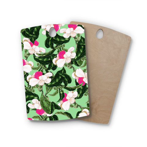 "83 Oranges ""Royal Florals"" Green Pink Illustration Rectangle Wooden Cutting Board"
