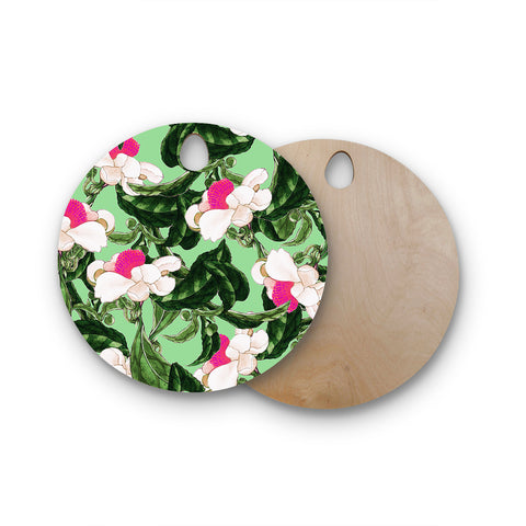 "83 Oranges ""Royal Florals"" Green Pink Illustration Round Wooden Cutting Board"